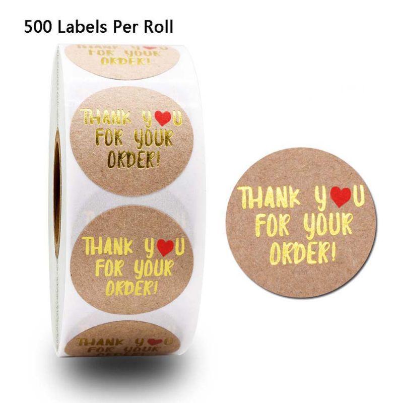500 pces kraft obrigado por seu pedido etiquetas do selo do casamento scrapbooking