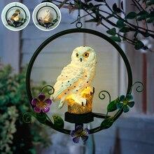 Énergie solaire LED hibou crochet Suspension Suspension lampe alimenté voie étanche lumières décoratif extérieur jardin décoratif lumière