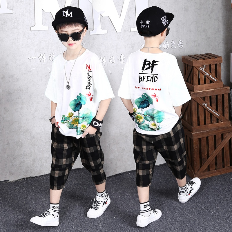 Children Clothing Summer Boys Sport Suits Short Sleeve T-shirt + Plaid Pants 2pcs Clothes Sets 2020 New Teens Boys Tracksuits