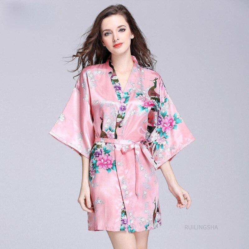 المرأة الربيع الصيف الحرير الحرير Bathrobe مثير حجم كبير كيمونو البشاكير كرين طباعة نصف كم طويل روب استحمام Pijama الجلباب