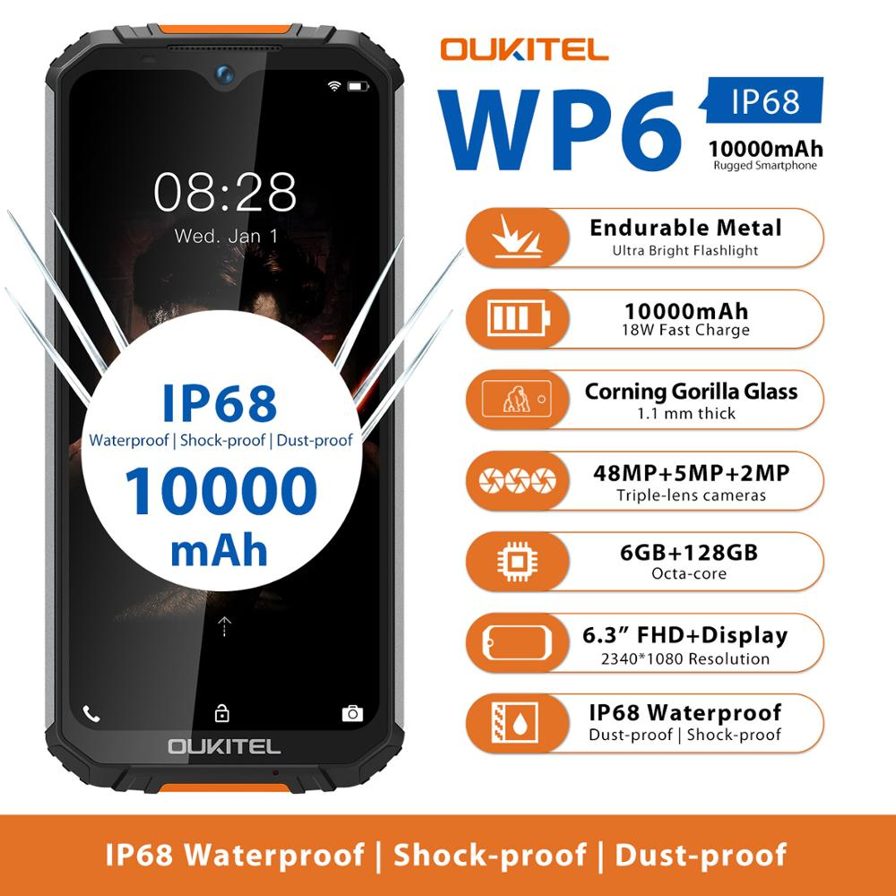 Перейти на Алиэкспресс и купить Прочный водонепроницаемый Смартфон OUKITEL WP6 Ip68 Восьмиядерный 6 ГБ 128 Гб телефон 9 В/2 а аккумулятор 10000 мАч Тройная камера 48 МП