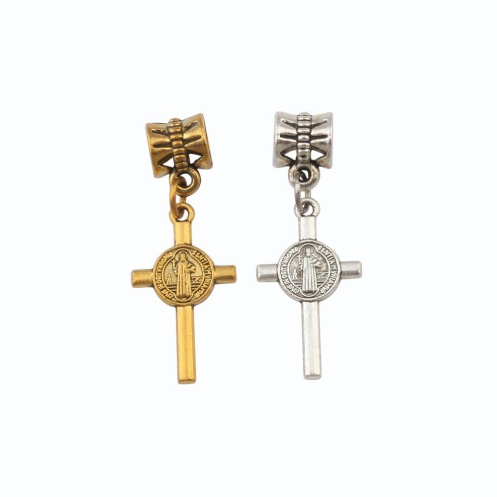 150 unidades/lotes ouro antigo saint benedict medalha cruz crucifixo balançar charme contas ajuste pulseira colar jóias diy 13x34mm A-570a