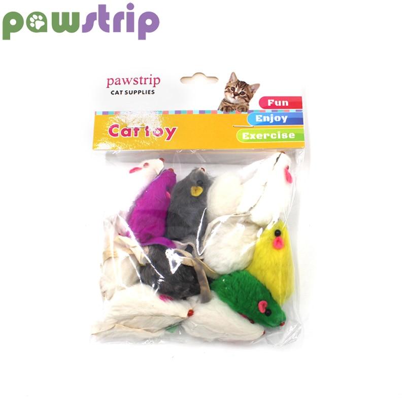 AliExpress - pawstrip 12Pcs/pack Rabbit Fur Cat Toy Interactive False Mouse Cat Toys With Sound Rattling