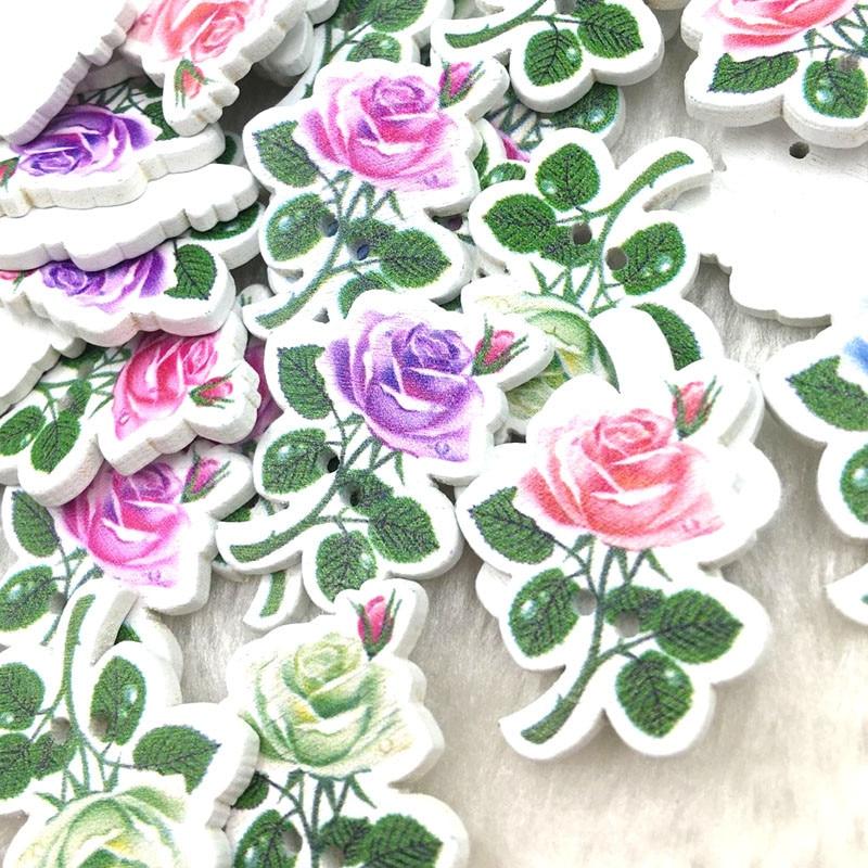 50Pcs Del Fiore di Modo di Fantasia Misto di Massa Pulsante di Legno di Cucito Accessori Decorativi Bottoni Fatti a Mano Scrapbooking Del Mestiere WB376