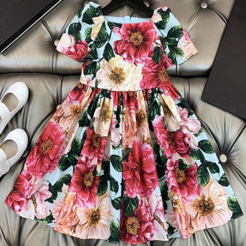 طفل الفتيات المطبوعة فستان الشاطئ 2021 الصيف جديد طفلة النساء vintage فستان الأميرة الأزهار