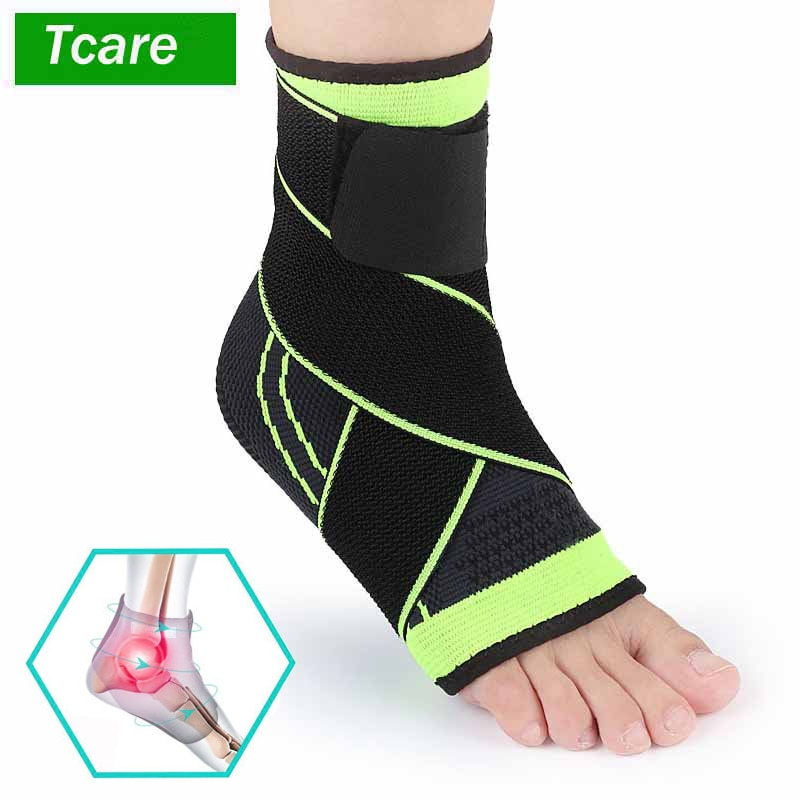 Tcare 1 Piece Foot Sleeve Compression Wraps Ankle Brace for Arch & Ankle Support Football Basketball Volleyball Running Sprained