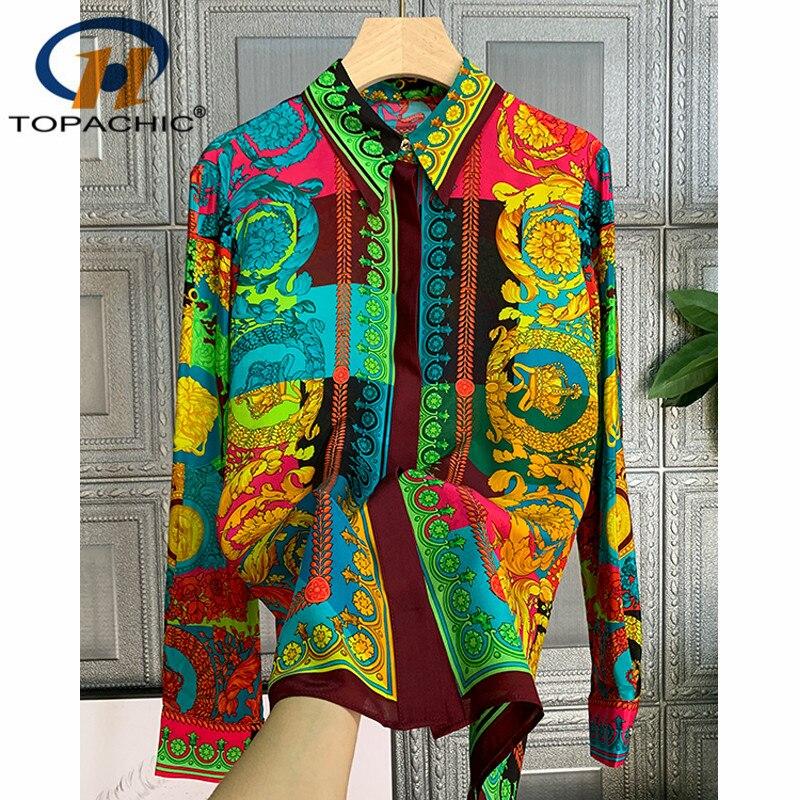 12.17  Silk Long sleeve Shirt 2020 New Women Temperament Fashion Print Pattern Contrast color Turn-down collar Blouses