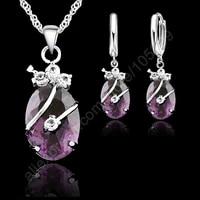 geometric 925 sterling silver flower water drop wedding jewelry sets for women cubic zircon pendant necklace earring party gift