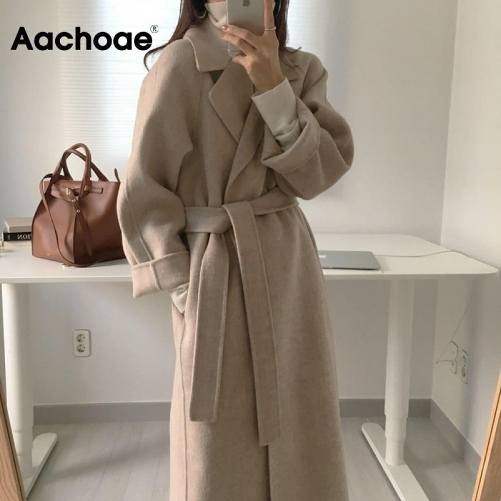 Aachoae Women Elegant Long Wool Coat With Belt Solid Color Long Sleeve Chic Outerwear Ladies Overcoa