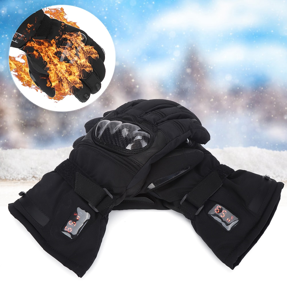 Electric Rechargeable Winter Outdoor Cycling Skiing Hiking Waterproof Windproof Thermal Gloves Maximum Temperature 65℃ (EU Plug)