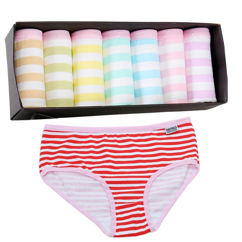 Bragas de algodón a rayas para mujer braguitas de lencería de tiro bajo ropa interior cómoda transpirable para mujer sin caja