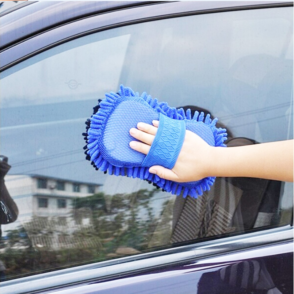 Купить с кэшбэком Car Styling Real Microfiber Car Motorcycle Washer Cleaning Care Detailing Brushes Washing Towel Auto Gloves Supplies Accessories