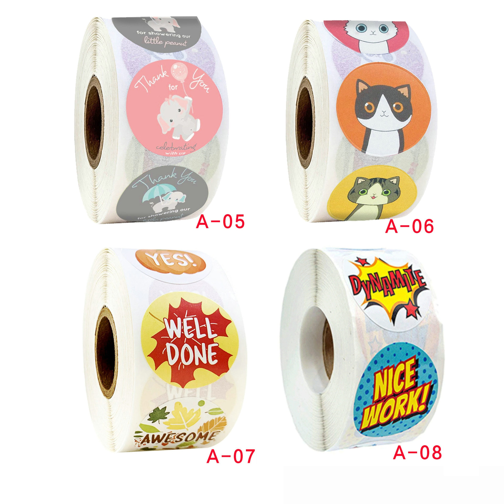 1 Roll=500PCS/Lot 2.5cm paper stickers Elephant cat Well done Good job WOW reward encourage stickers Sealing label Promotion toy