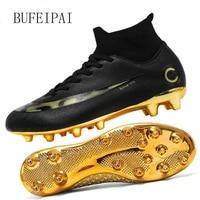 bufeipai white black gold mens soccer shoes high ankle soccer shoes womens soccer shoes botas de futbol socks non slip shoes