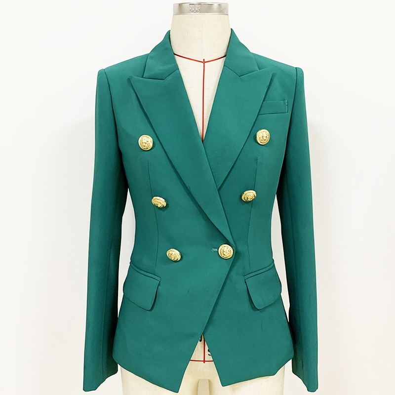 Ladies high-end green classic blazer 2020 new autumn and winter temperament long-sleeved ladies jacket suit Casual jacket floral and animal embroidery long sleeved jacket