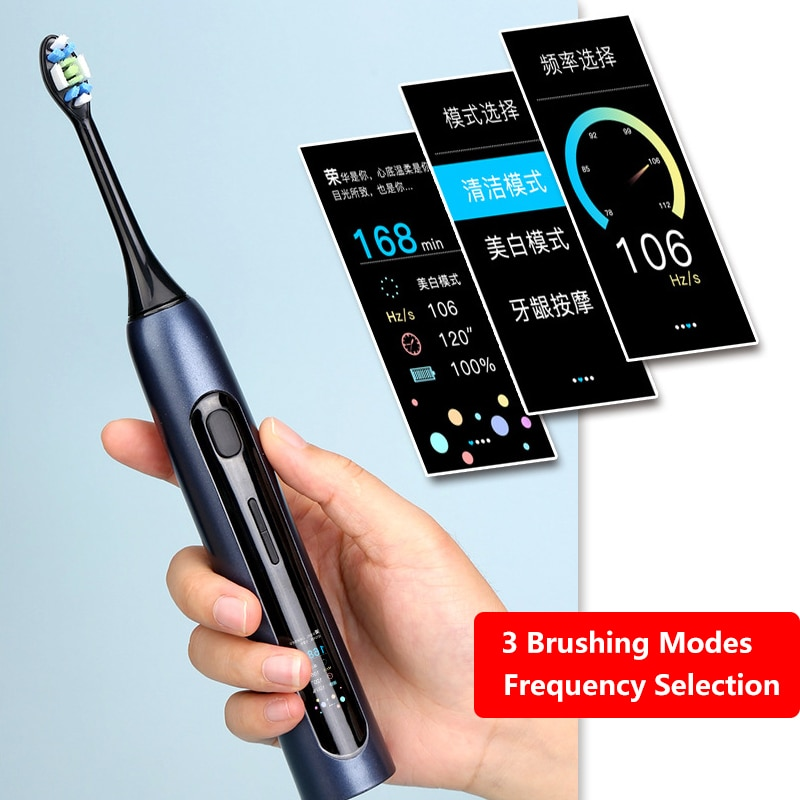 SOUNESS V2 Sonic Electric Toothbrush Adult IPX7 Waterproof Rechargeable LCD Color Screen Toothbrush 2021 NEW