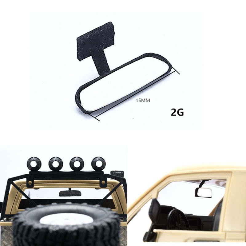 Simulation Rearview Mirror Indoor Metal Reflectors For 1/16 WPL RC Car Parts Accessories