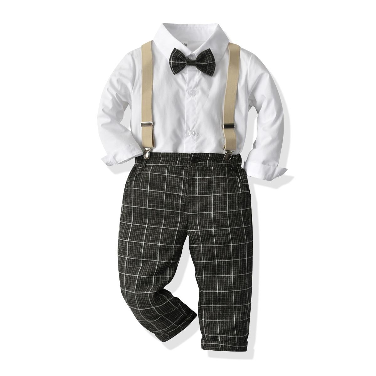 Оптовая продажа, комплект одежды для маленьких мальчиков, Осенний Детский костюм, рубашка и штаны, детская одежда, костюмы для младенцев, оф...
