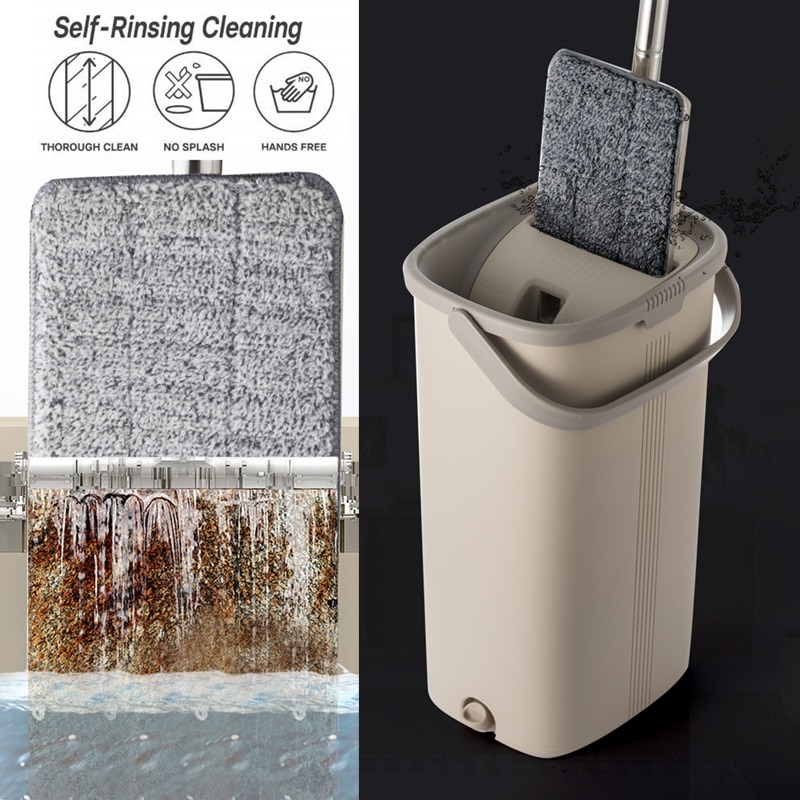 360 rotatable heads With Reusable Mop PadsSqueeze Hand Free Flat Mop Bucket With Stainless Steel Handle Wet Dry Floor Cleaning enlarge