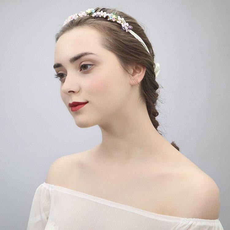 Nueva joyería para el cabello hecha a mano banda para el cabello tocado de novia de cerámica banda para la cabeza de flor guirnalda de moda