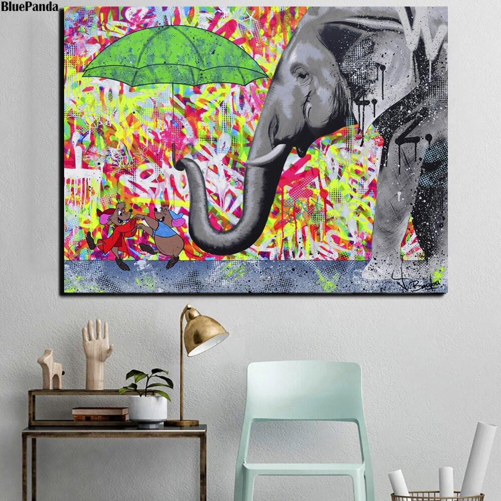 Camundongos dança dos desenhos animados pinturas elefante impressão em tela rua arte anime imagem para sala de estar cartaz na parede decoração casa