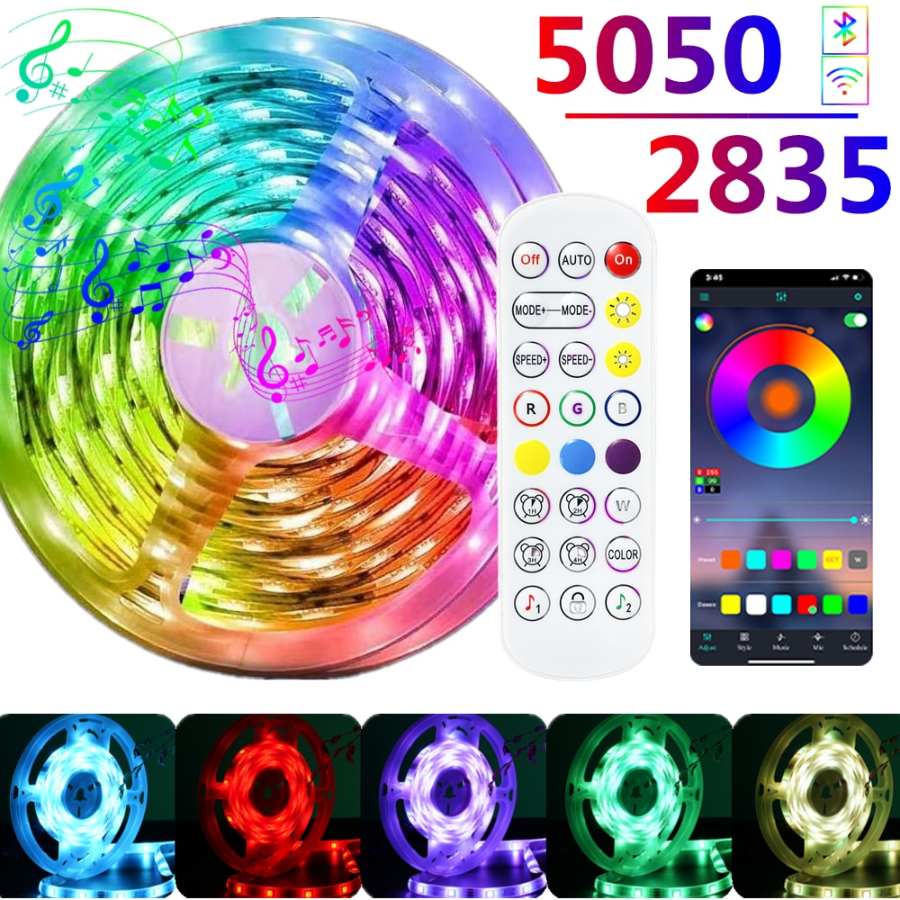 LED Strips Light Flexible Ribbon Waterproof RGB 5050 DC 12V Bluetooth Control Smart Luces Lamps Set