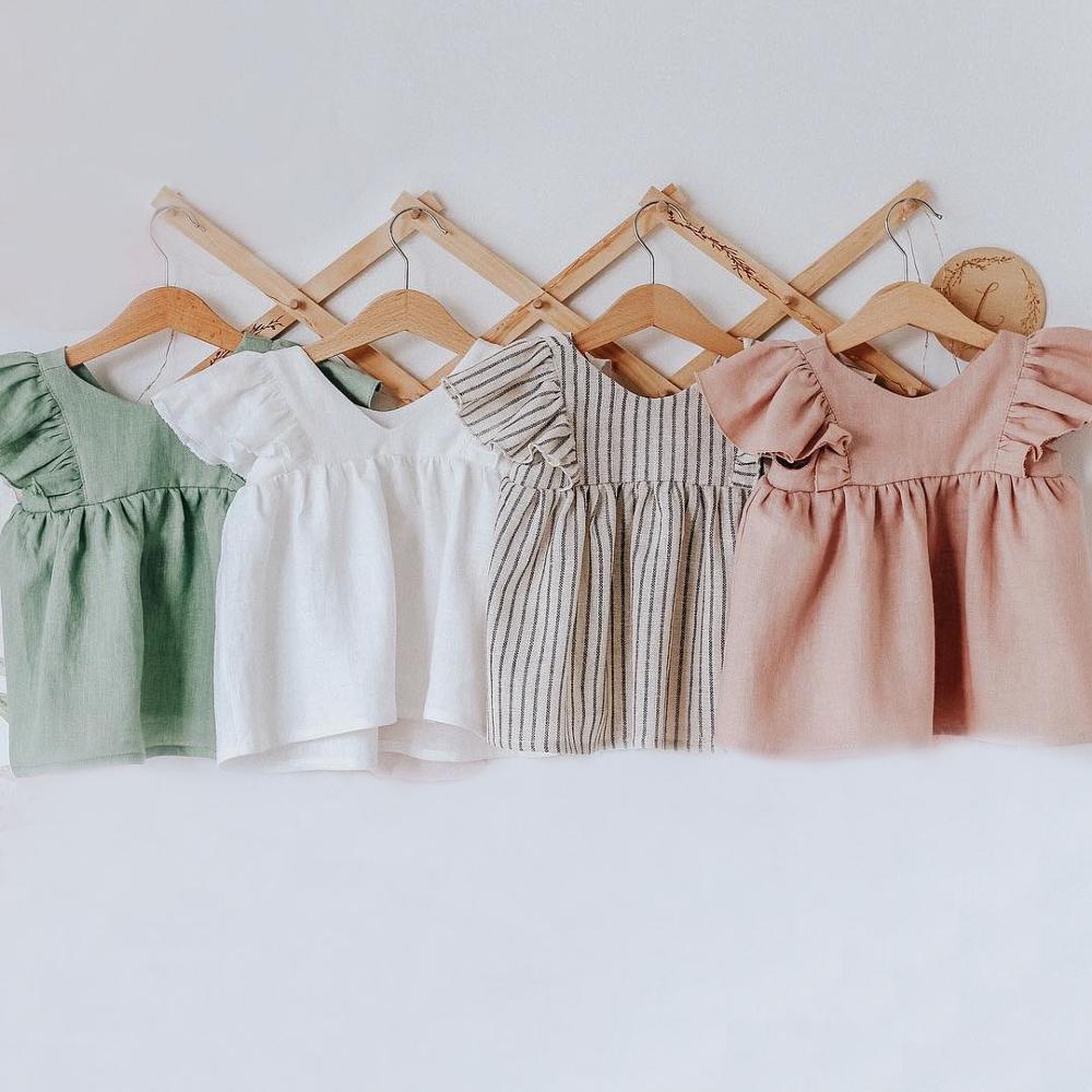 Bebê menina vestido de verão 0-24 m algodão orgânico linho manga curta sólido bebê outfit shorts chapéus recém-nascidos roupas da menina do bebê conjunto