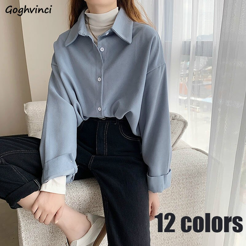 Shirts Women Solid Elegant All-match Autumn Colorful Chic Korean Style Retro Simple OL New Fashion Loose Shirt Leisure Ulzzang