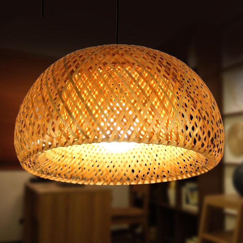 Lámpara de tatami japonesa, lámpara colgante de madera de ratán, barra de luces, comedor, cocina, lustre, lámpara colgante de mimbre de Bambú