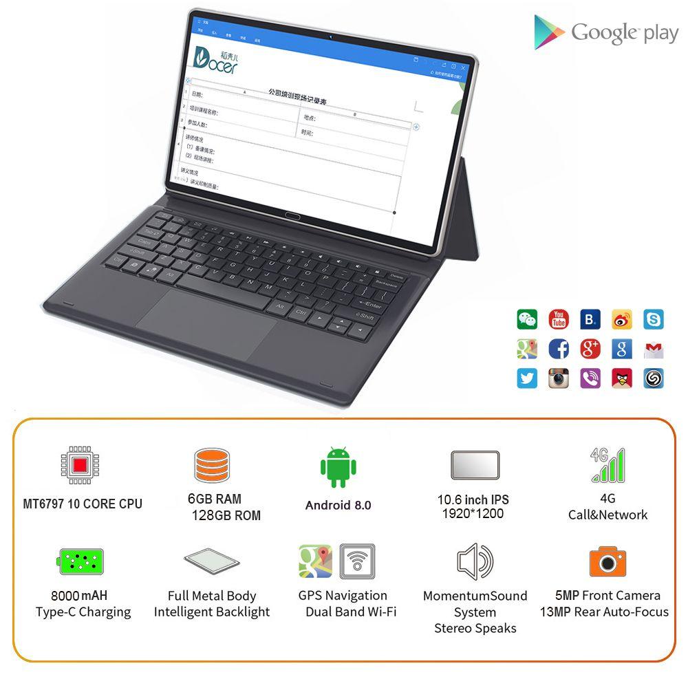 10,6 zoll Tablet PC Android Deca Core 2,5 K IPS Bildschirm 6GB RAM 128GB ROM 1920x1200 13MP Kamera Dual 4G Tablet 10.1