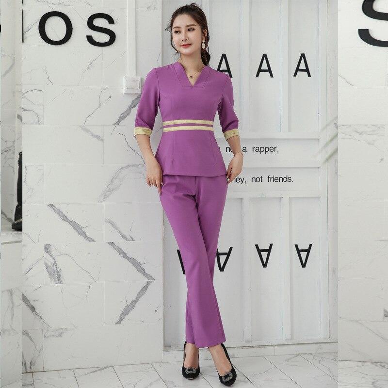 Uniformes de Spa de belleza de primavera, prendas de masaje de Tailandia, conjunto de monos de salud ajustados de moda, ropa de trabajo de salón de belleza al por mayor