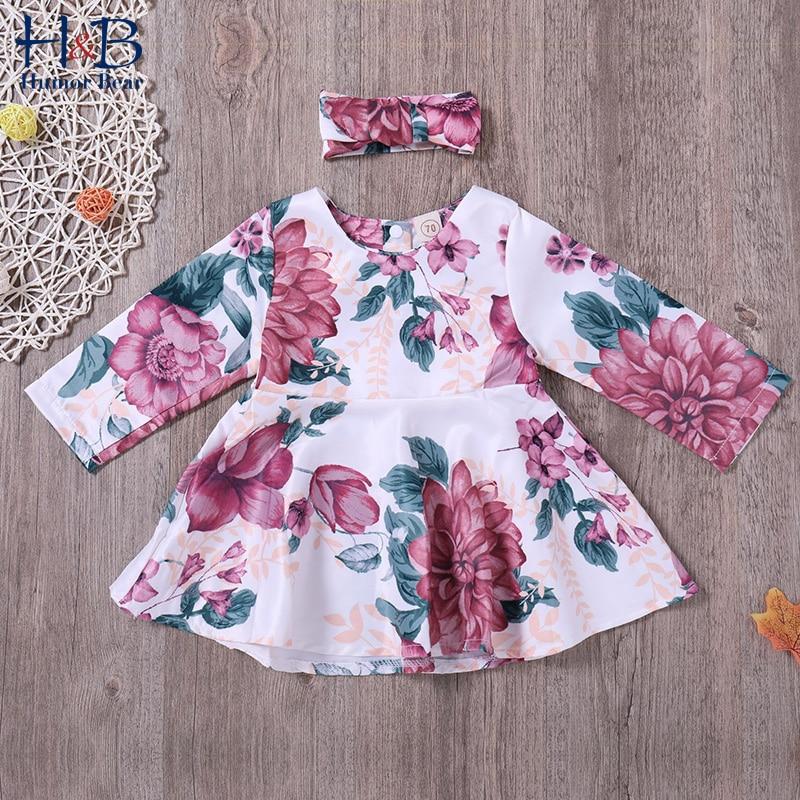 Vestido de princesa de manga larga con diseño de oso de Humor + Bandana con lazo de dos piezas para primavera y otoño