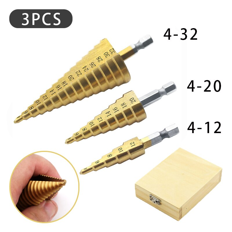 3pcs  4 - 12 / 20 / 32mm Titanium Coated Metal Hex Core Drill Bits Hss Step Drill Bit Set Cone Hole Cutter Taper Metric with Box