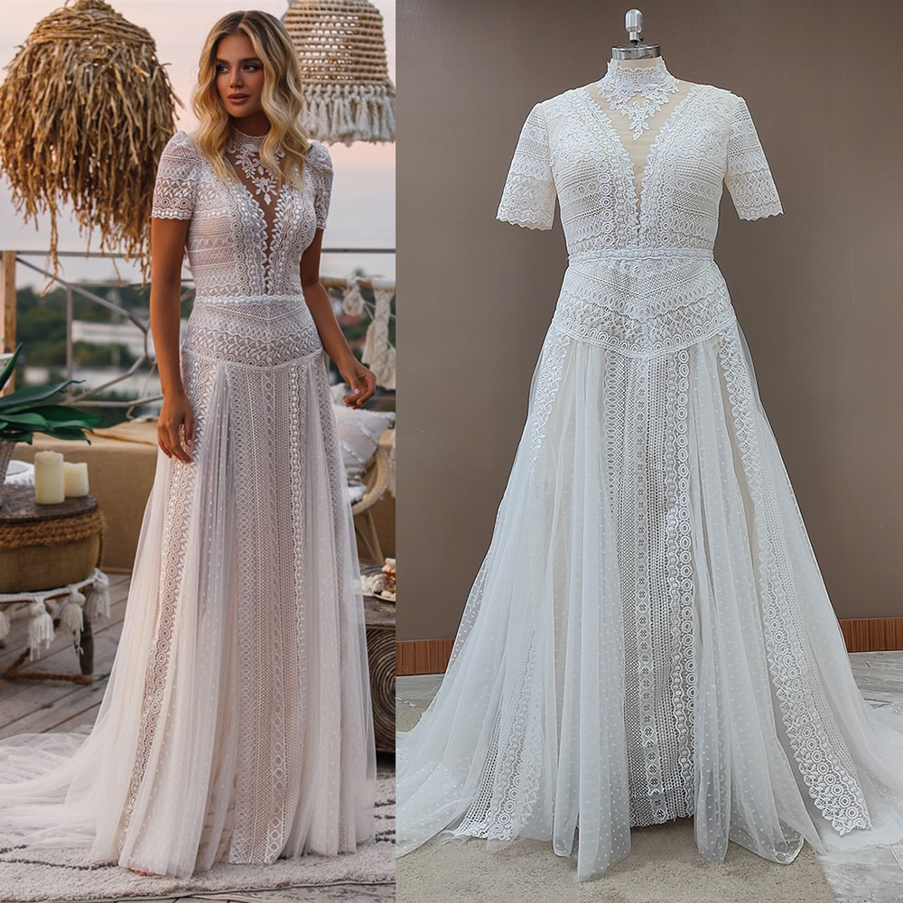 Real Photos Bohemian Short Sleeves Arab Wedding Dress Hollow Out Lace Boho Muslim Bridal Gowns Maxi Large Sizes Custom Made