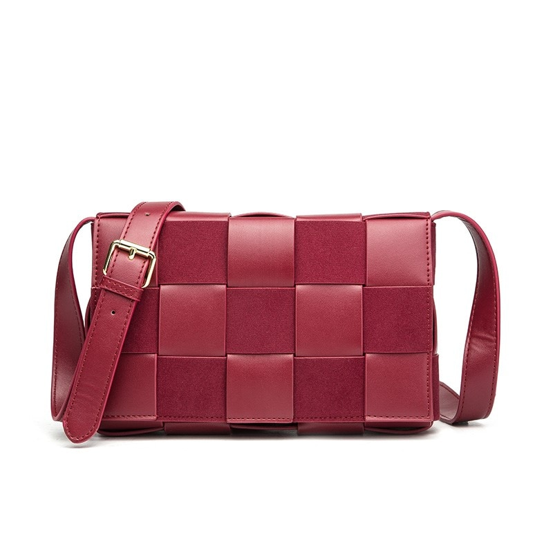 Bandolera para mujer de la marca Angel Kiss, pequeña bolsa de mensajero tejida, Mini bolso Puin suave y de gamuza