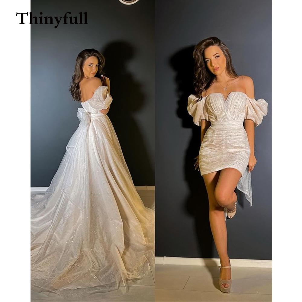 لامعة 2 قطعة جديد قصيرة Sleevels الزفاف فساتين 2021 Setachable قطار الزفاف مساء حزب الأميرة أثواب اللباس Vestidos دي فيستا