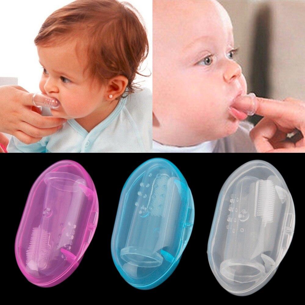 Cepillo de dientes de silicona suave para niños, masajeador de goma con caja útil y saludable para niños