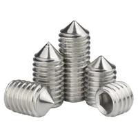 304 stainless steel hex socket head cap set grub tapered point screw metric thread hexagon headless machine bolt m3 m4 m5