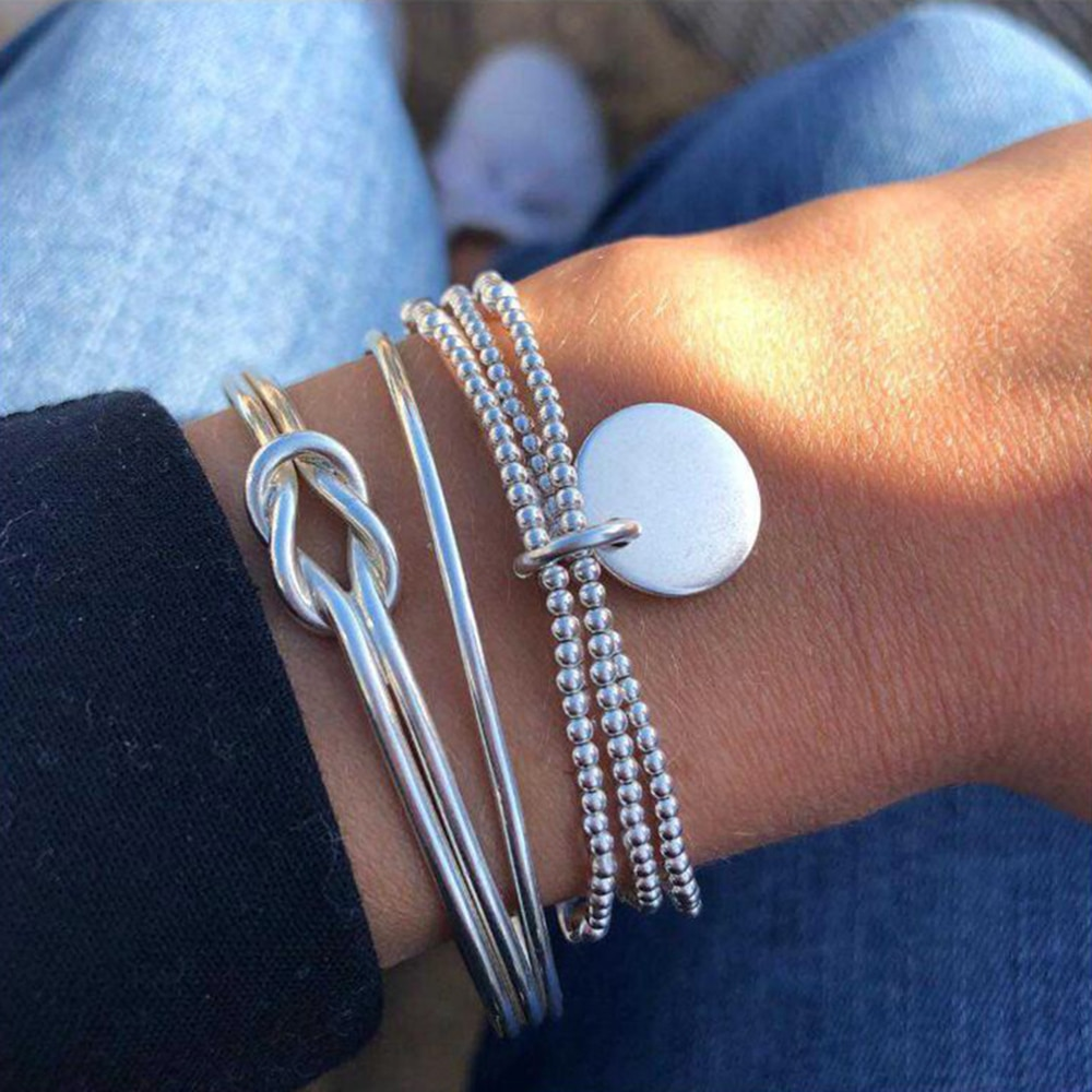 Charm Bracelet 2021 Fashion Bright Bracelets for Women Silver Color Knot Beaded Hand Jewelry 3 Set Wholesale Bulk Pulseras Mujer