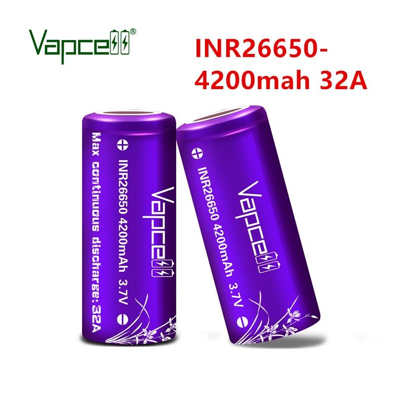 Vapcell original 26650 battery 4200mAh - 4300mah  32A rechargeable li ion 3.7V batteries cell mooch HKJ test free shipping