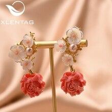 XlentAg corail boucles doreilles argent 925 broche rouge fleurs boucles doreilles femmes accessoires mariage luxe indien bijoux coréen goujons GE0024