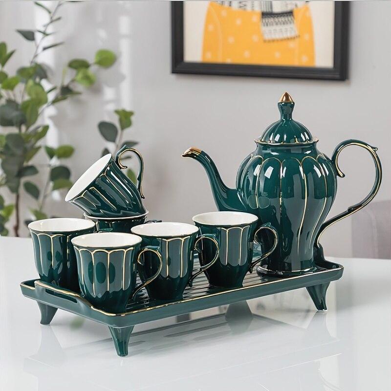 السيراميك طقم شاي القهوة الشمال بنوم بنه الأخضر الأبيض وعاء صينية أكواب بار أدوات المياه غلاية لوازم المطبخ المنزلية درينكوير