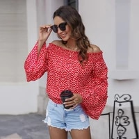 sexy slash neck polka point blouses women spring summer casual flare sleeve blouse shirt top for women 2021 new one shoulder top