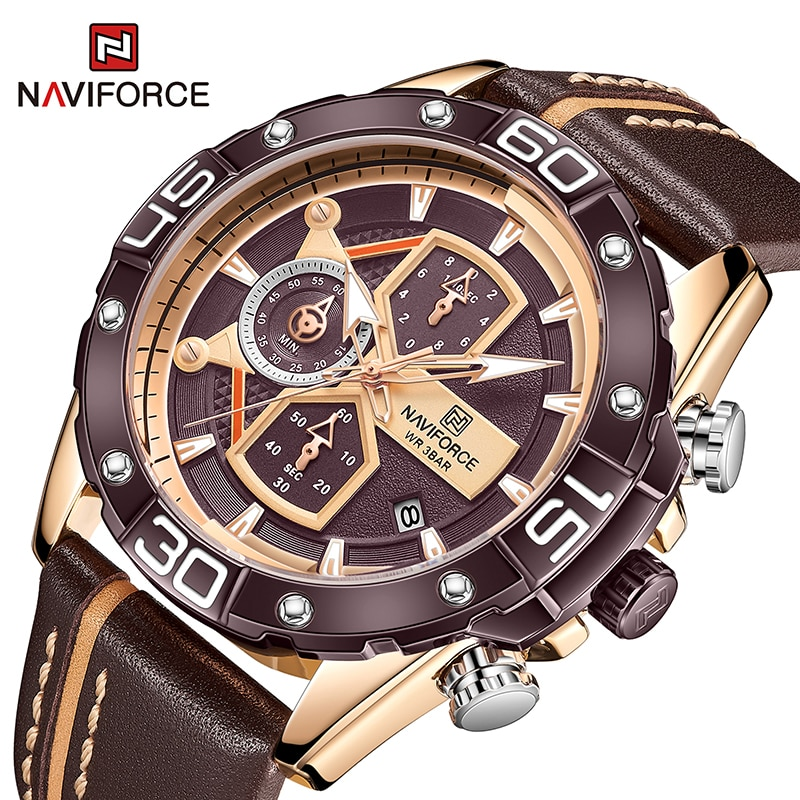 NAVIFORCE Top Brand Luxury Chronograph Quartz Wrist Watch For Men Sports Watches Military Male Clock Genuine Leather Waterproof