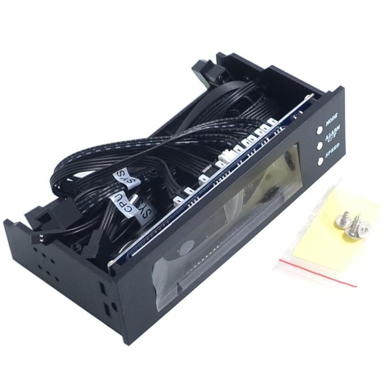 5,25 pulgadas 12V ordenador ventilador controlador 3 ventilador controlador de velocidad Sensor de temperatura LCD pantalla Digital Panel frontal para PC