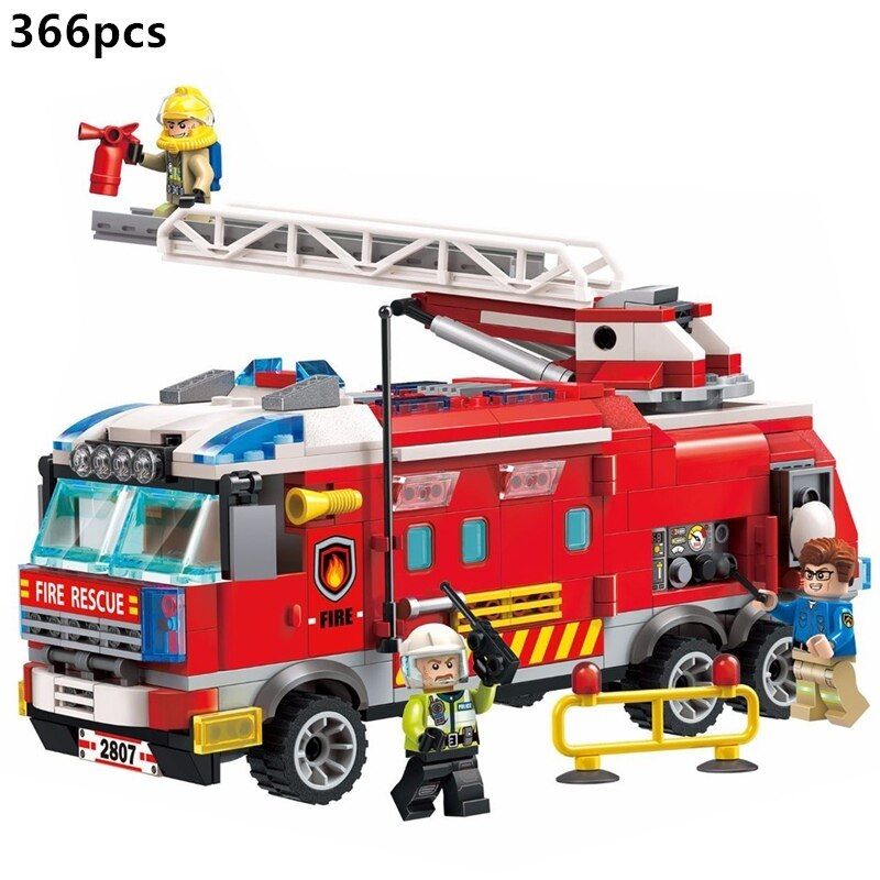 enlighten 970pcs fire rescue headquarters sation centre helicopter truck fireman assemble toy car building blocks toys 2807 City Police Firefighter Rescue Fire Station Truck Aircraft Ladder Car Building Blocks Sets Kid Toy
