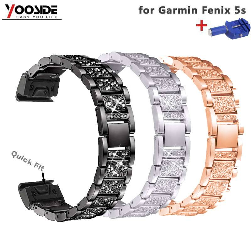 YOOSIDE Fenix 6S Быстросохнущий женский браслет 20 мм Кристальные блестящие часы из металлического сплава ремешок для Garmin Fenix 5S/5S Plus