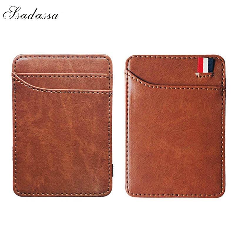 New Fashion Slim Men's Leather Magic Wallet Korea Designer Credit Card Holder Women Small Cash Clip