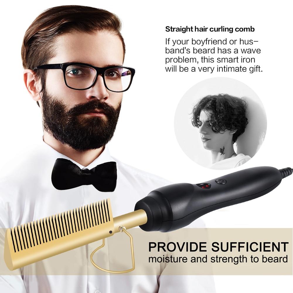 فرشاة تمليس الشعر النحاسية ، متعددة الوظائف ، للرجال والنساء ، مشط كهربائي ساخن