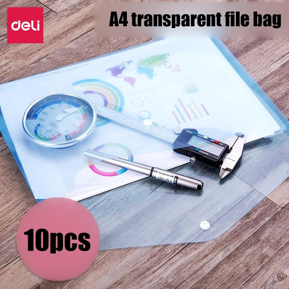 10pcs/pack Transparent File Bag A4 Thicken Document Snap Card Bills Clips Waterproof Plastic Data Storage Folder Dropship